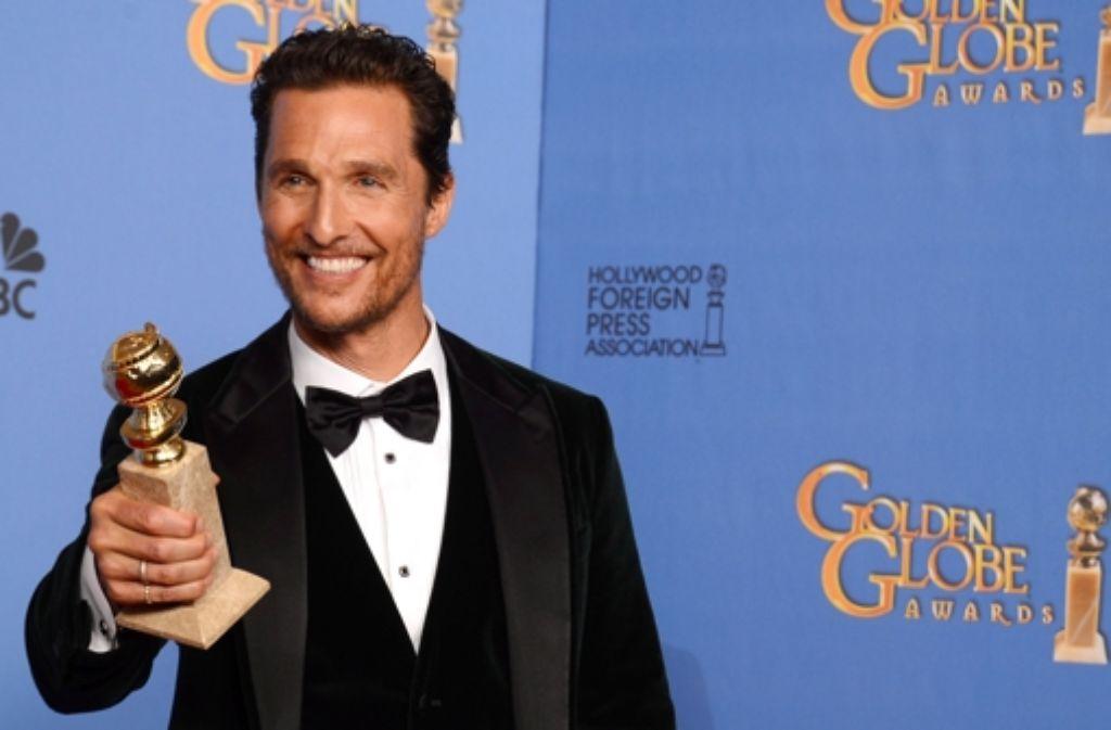 Den Golden Globe hat er schon: Matthew McConaughey Mitte Januar in Los Angeles Foto: P