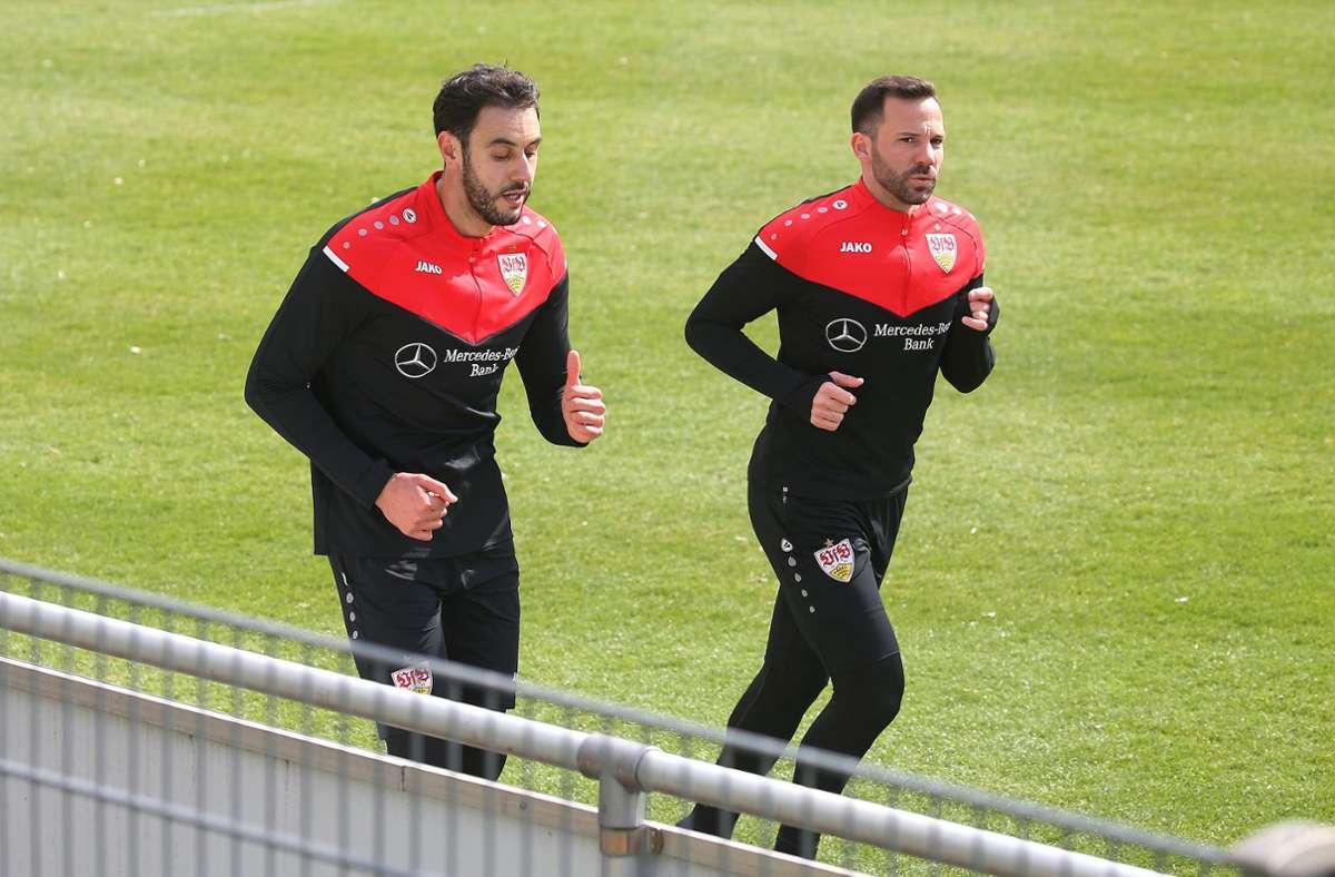 Hamadi Al Ghaddioui (links) geht es immer besser, Gonzalo Castro steht auf der Kippe für das Spiel in Berlin. Foto: Pressefoto Baumann/Alexander Keppler