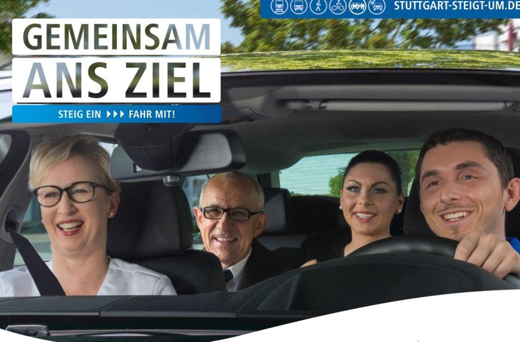 Wer Fahrgemeinschaften bildet, schont die Umwelt und den Geldbeutel. Das ist die Kernaussage einer neuen Kampagne der Stadt zur Luftreinhaltung. Foto: Stadt Stuttgart