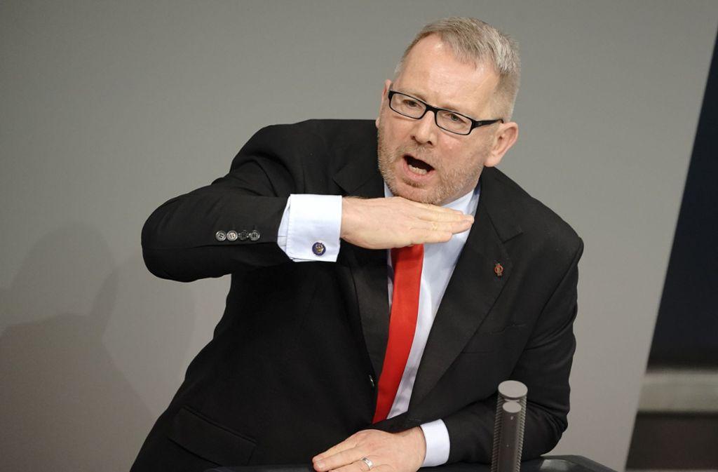 Der konservative SPD-Politiker Johannes Kahrs hier 2019 bei einer Rede im Bundestag. Foto: dpa/Michael Kappeler