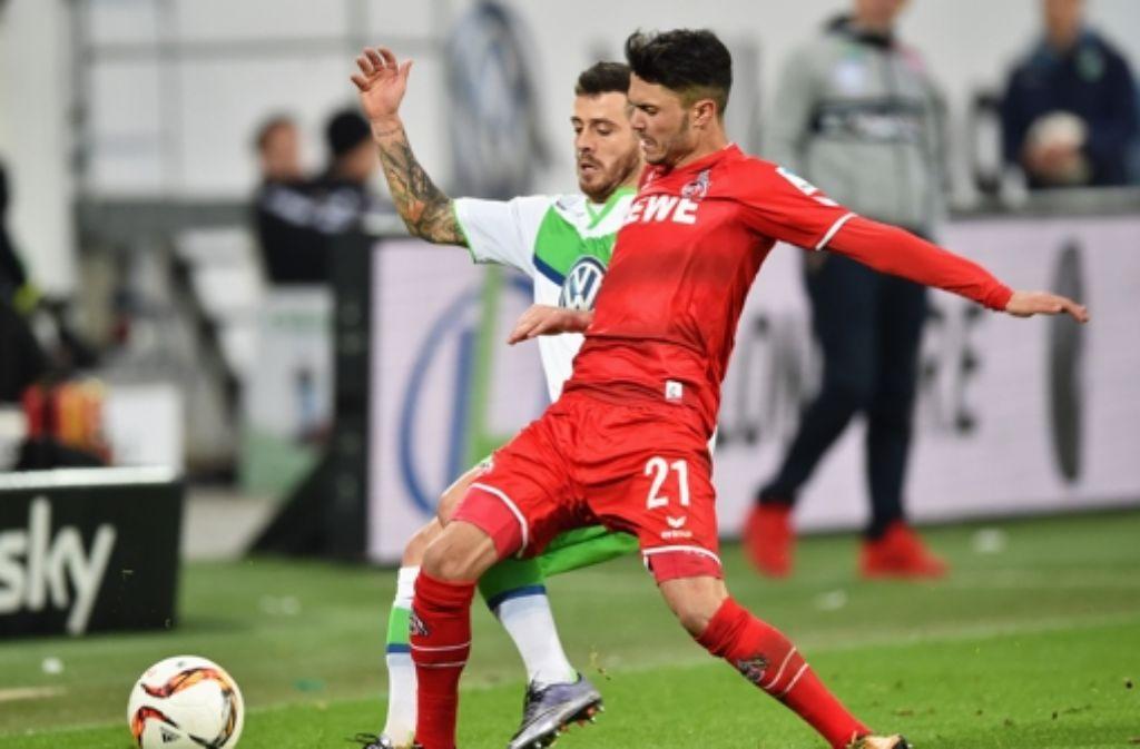 Für den VfL Wolfsburg reicht es gegen den 1. FC Köln nur zu einem 1:1-Unentschieden. Foto: Bongarts
