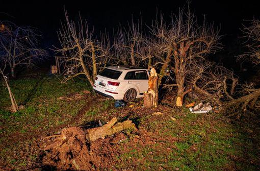 SUV-Fahrer kracht gegen Bäume – 100.000 Euro Schaden
