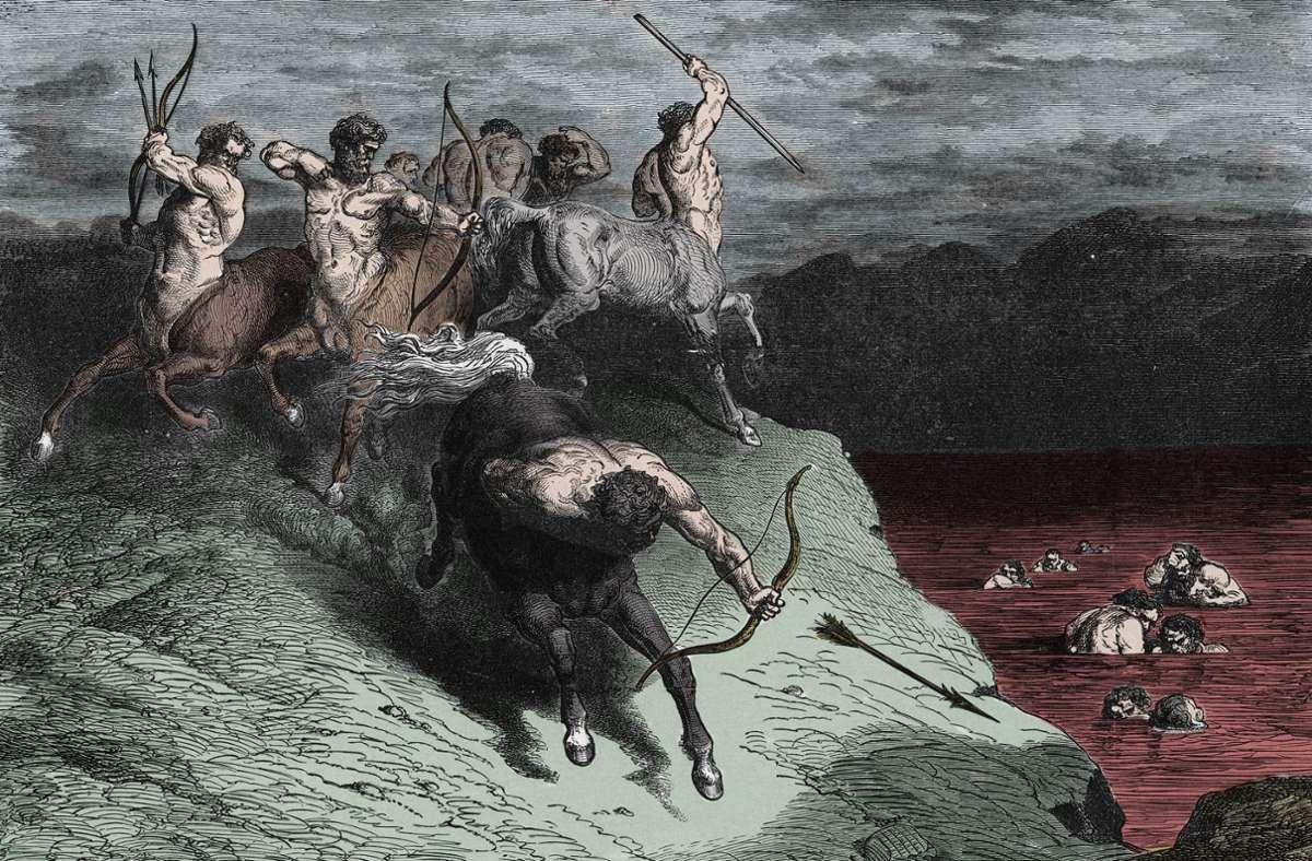 Kentauren wachen darüber, dass niemand die Blutsuppe vorzeitig verlässt.  Illustration zum 12. Gesang des Inferno von Gustave Doré. Foto: imago/Leemage/imago stock&people