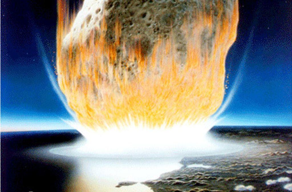 Künstlerische Deutung des  Asteroidenaufpralls auf der Erde: Der Asteroid im Bild erscheint viel größer als der rund zehn Kilometer lange Felsen, von dem Wissenschaftler annehmen, dass er vor 66 Millionen Jahren auf der Erde aufschlug. Das Bild illustriert jedoch gut die Hitzeentwicklung beim Aufschlag des Asteroiden. Foto: Don Davis/Nasa/dpa