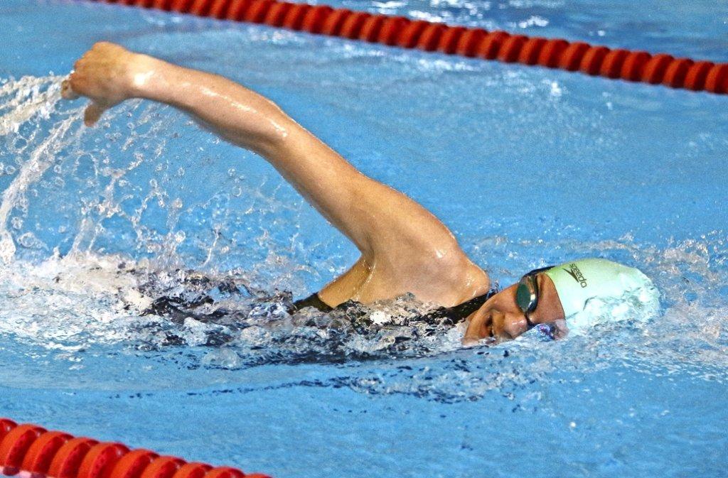 Die  Paradedisziplin  von Janika Merkle   ist        das Brustschwimmen –ihre Bestzeit über 100 Meter    sind        1,19 Minuten.      Doch auch im  Freistil ist sie schnell unterwegs. Foto: Andreas Gorr