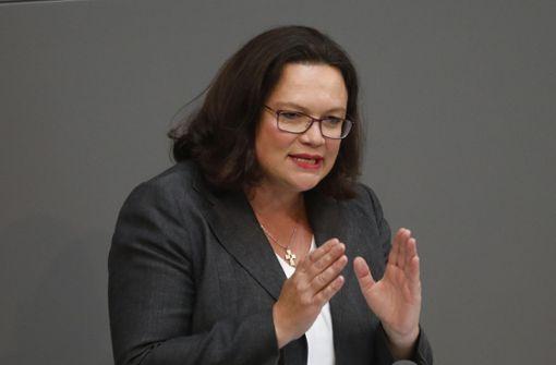 SPD-Chefin Nahles fürchtet um Koalition