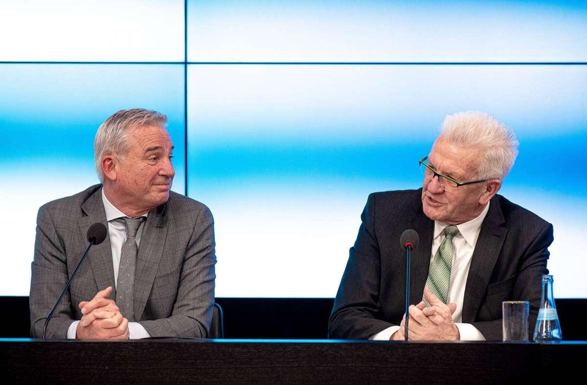 Ministerpräsident Winfried Kretschmann (re.) und Innenminister Thomas Strobl. Foto: 7aktuell.de/Marc Gruber/7aktuell.de | Marc Gruber