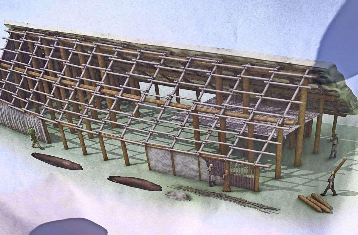 So hat ein jungsteinzeitliches Langhaus ausgesehen. Rechts ist im Innern ein Zwischenboden zum Lagern des Getreides zu sehen. Foto: Götz Schultheiss