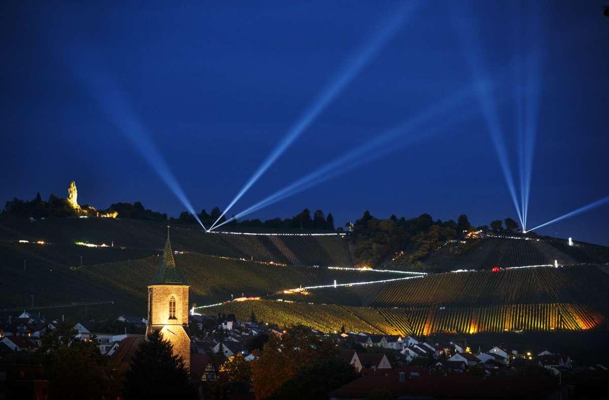 Der Leuchtende Weinberg in Weinstadt – hier eine Aufnahme aus dem Jahr 2018. Foto: Gottfried Stoppel