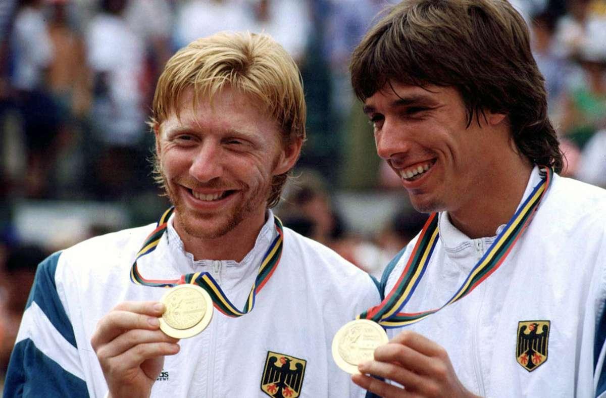 Boris Becker und Michael Stich gewannen 1992 Gold im Doppel. Foto: mago/Kosecki/imago sportfotodienst