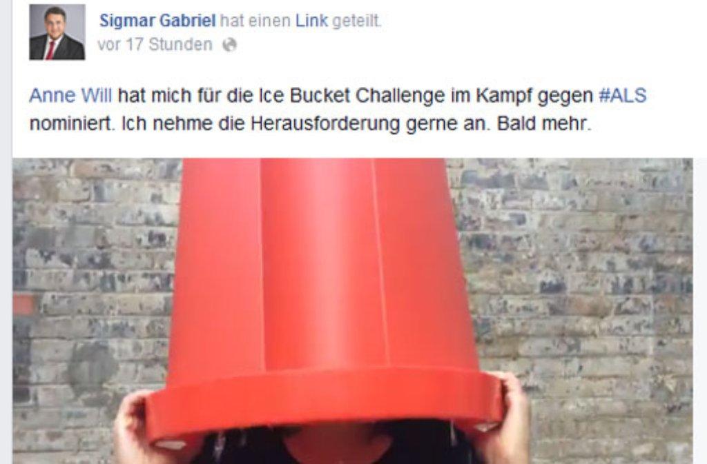 Die Sache mit dem Eimer - schon viele absolvierten so wie Anne Will die Ice Bucket Challenge. Foto: www.facebook.com/sigmar.gabriel