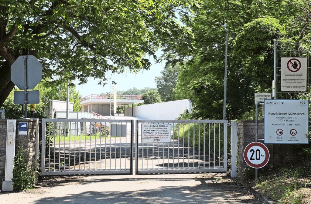 Das neue Besucherzentrum im Hauptklärwerk Mühlhausen steht im Rohbau. Foto: