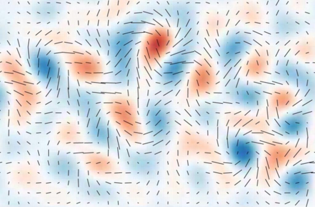 """Das Bild zeigt einen Ausschnitt des Himmels, genauer gesagt einen Bereich in den südlichen Sternbildern Pendeluhr, Tukan und Indus, wie das Magazin """"Sterne und Weltraum"""" erläutert. Dargestellt wird die Polarisation der kosmischen Hintergrundstrahlung: Rot steht für eine Polarisation im und Blau für eine entgegen dem Uhrzeigersinn. Weitere Bilder vom Teleskop, das diese Aufnahme gemacht hat, sowie von der eigentlichen Hintergrundstrahlung finden Sie in der Bildergalerie. Foto: Harvard University"""