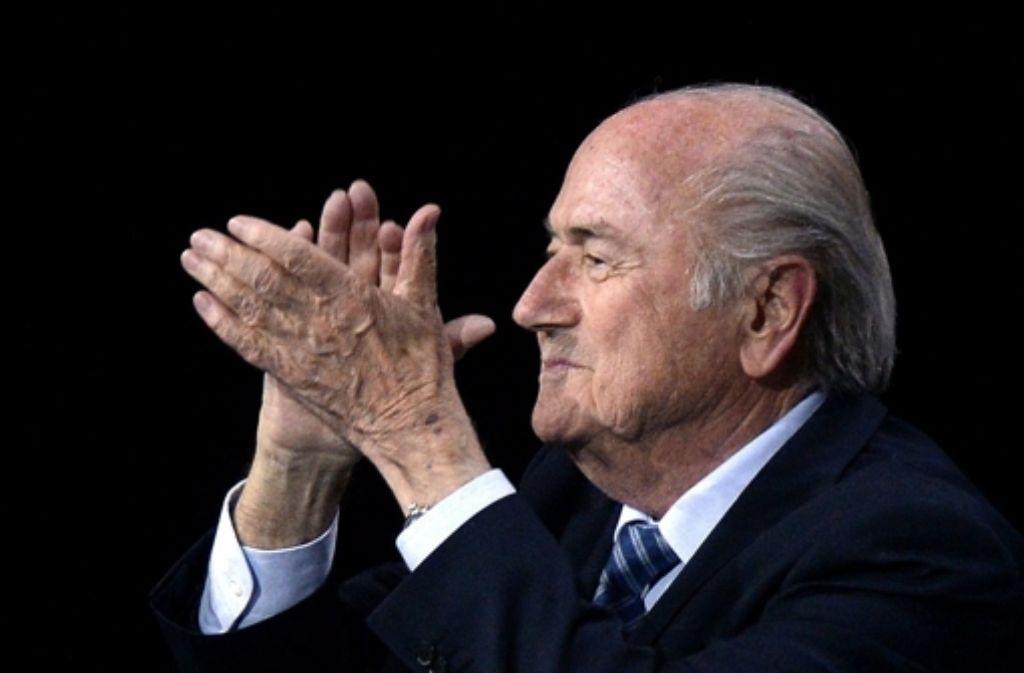 Sepp Blatter freut sich über seine Wiederwahl. Foto: KEYSTONE