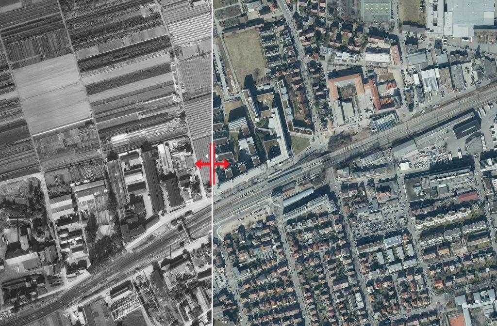 Vergleich der Luftaufnahmen aus den Jahren 1955 und 2017. Foto: Stadtmessungsamt Stuttgart