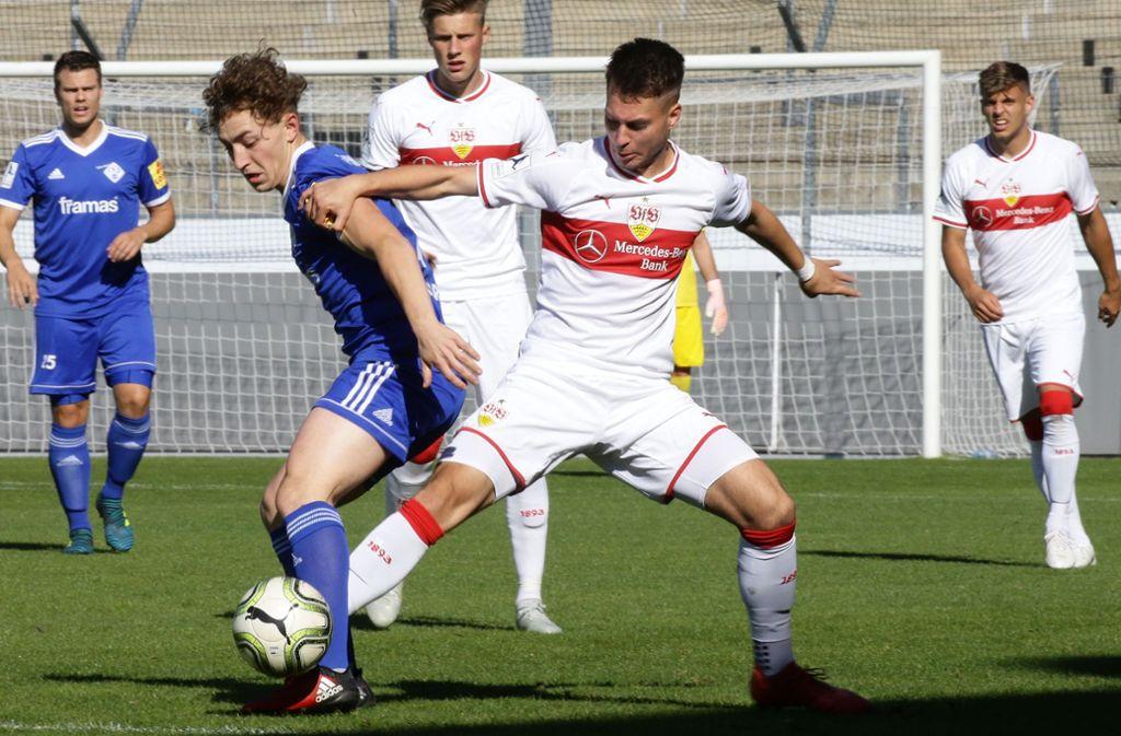 David Tomic: Nur der Außenbahnspieler trifft für den VfB II beim 1:2 beim SC Hessen Dreieich. Foto: Baumann