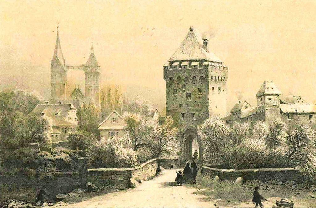 Das war das Esslingen von 1855, das der Komponist Christian Fink noch erlebte. In der Mitte das Schelztor, links St. Dionys. Foto: privat
