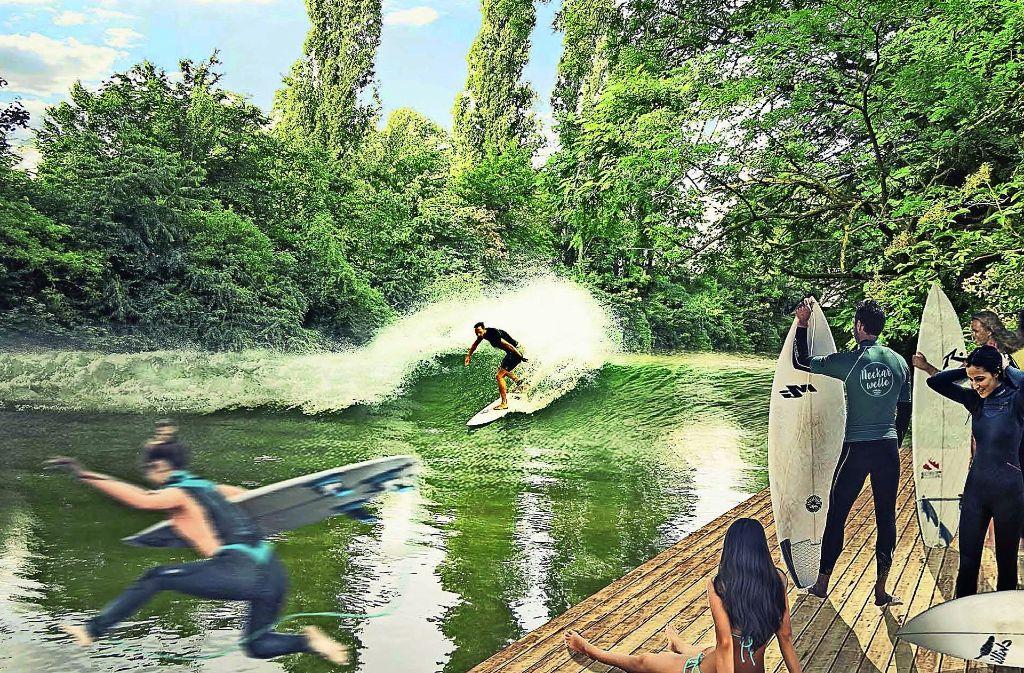 Eine Animation zeigt, wie auf dem Neckar gesurft wird. Foto: Team Neckarwelle