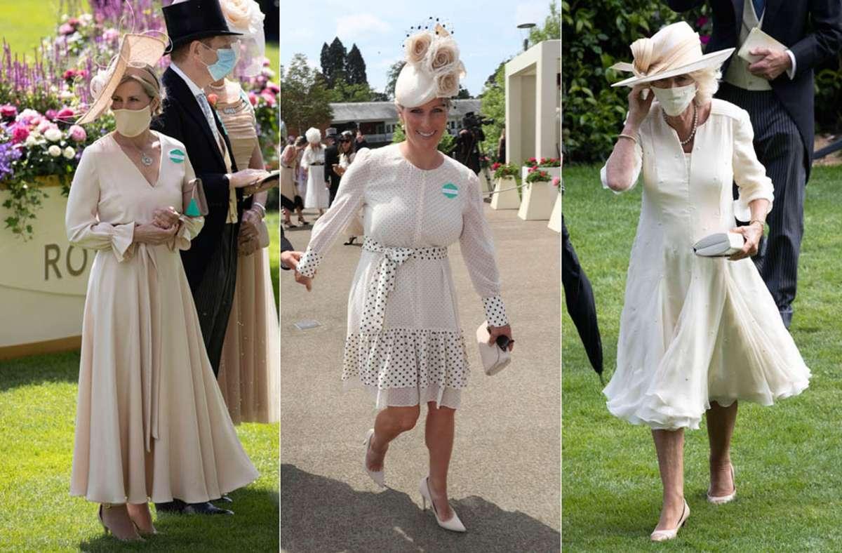 Beim Pferderennen von Ascot trägt der Royal creme – Gräfin Sophie, Zara Tindall und Herzogin Camilla (von links). Foto: Imago/i Images