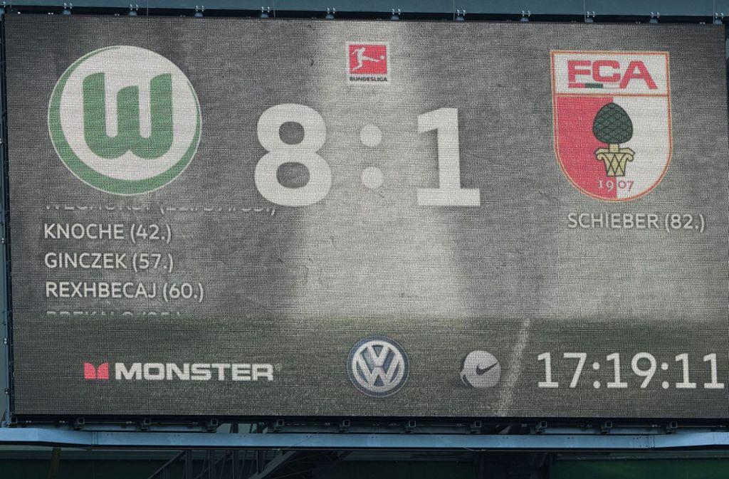 Schützenfest in Wolfsburg – der VfL gewann am letzten Spieltag der Fußball-Bundesliga 8:1 gegen den FC Augsburg und war damit Hauptdarsteller in den diversen Konferenzschaltungen. Foto: dpa