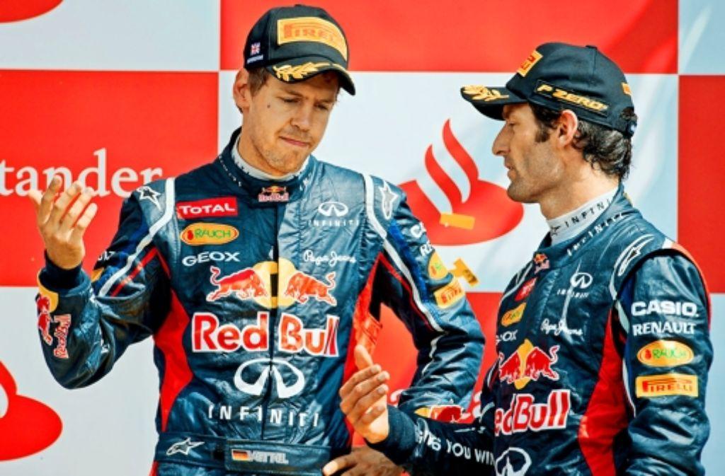 Sebastian Vettel und Mark Webber sind nicht unbedingt gute Freunde. Foto: dpa
