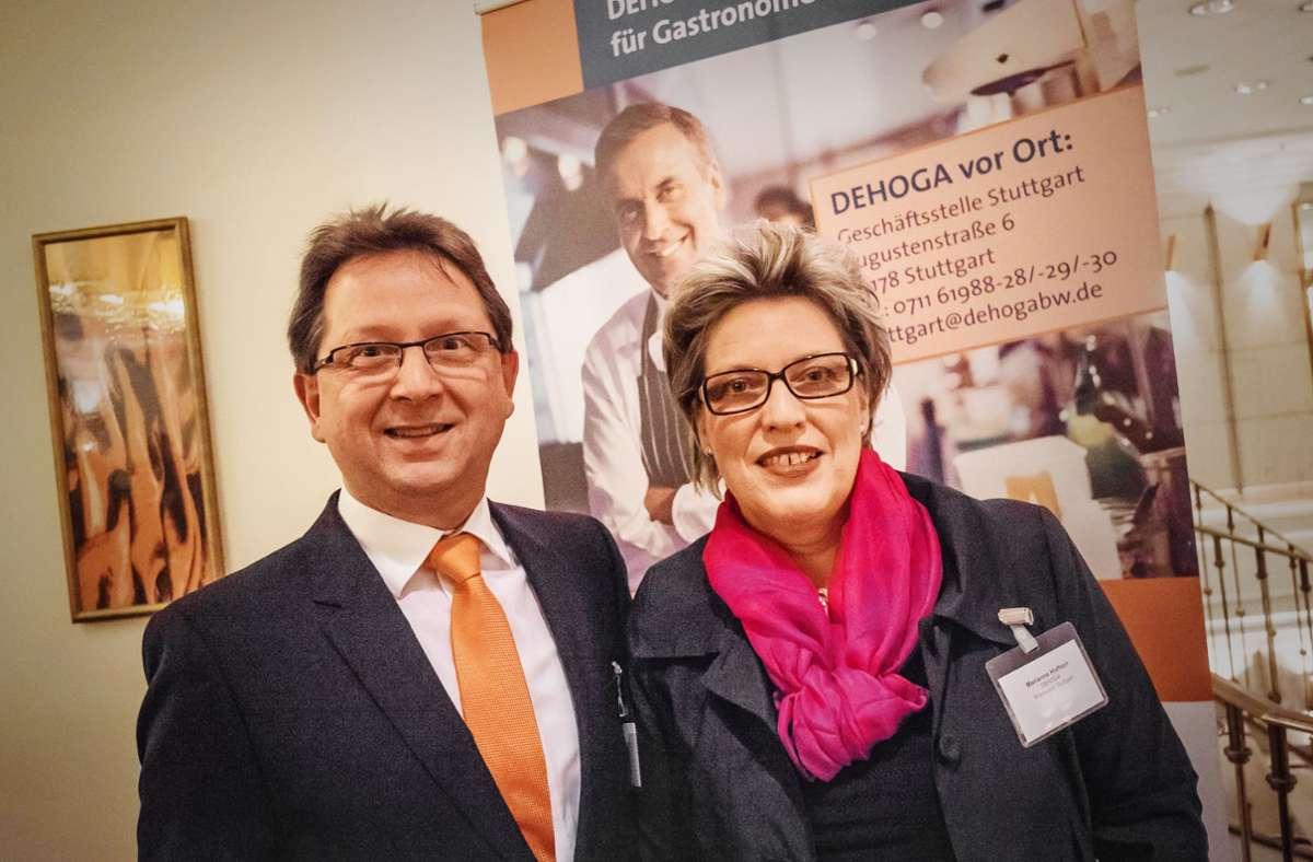 Markus Hofherr mit  Ehefrau Marianne beim Dehoga-Empfang. Foto: Lg//Kovalenko