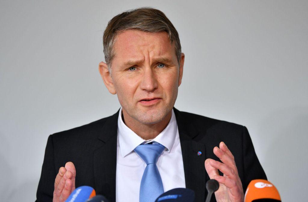 """Björn Höcke, Fraktionsvorsitzender der AfD Thüringen, ist der Gründer der völkisch-nationalen Gruppierung """"Der Flügel"""". Foto: dpa/Martin Schutt"""