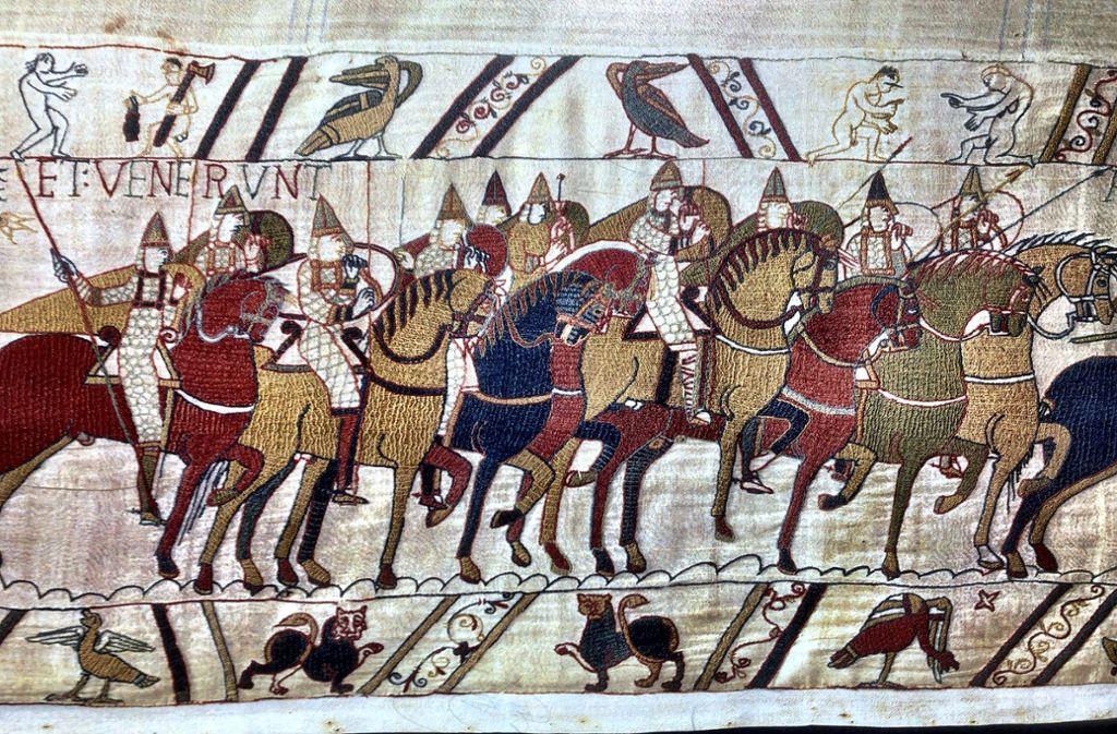 Der Teppich von Bayeux ist etwa 1000 Jahre alt. Experten befürchten, der dünne Stoffe könne zerbrechen, wenn er transportiert wird. Foto: Museum von Bayeux/Knut Krohn