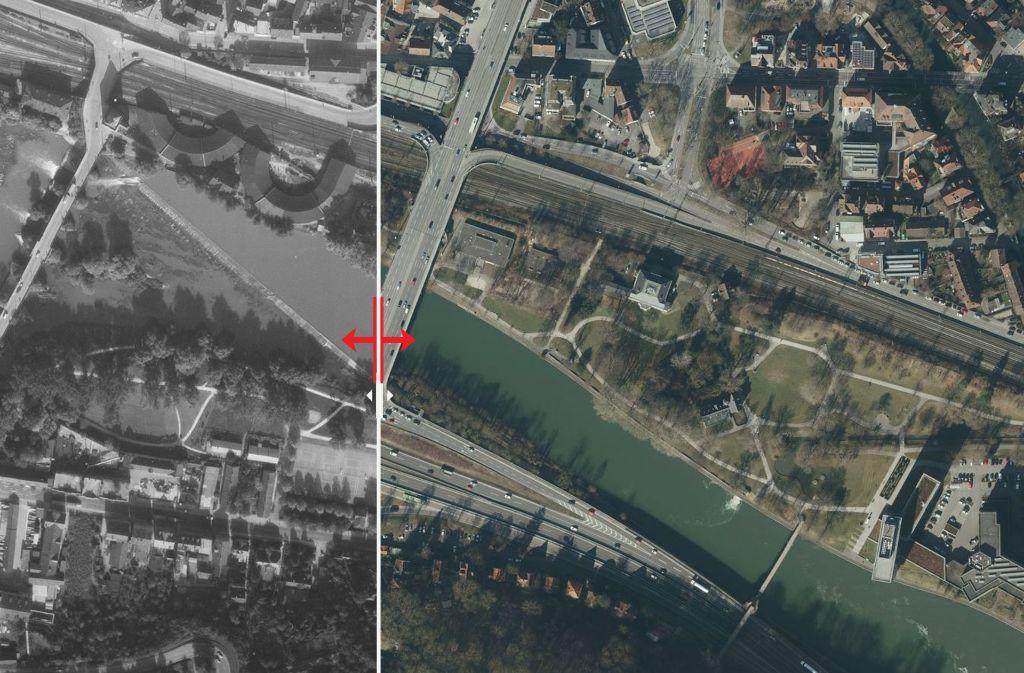 Der Merkelpark in Esslingen früher und heute. Foto: Stadtmessungsamt/Plavec