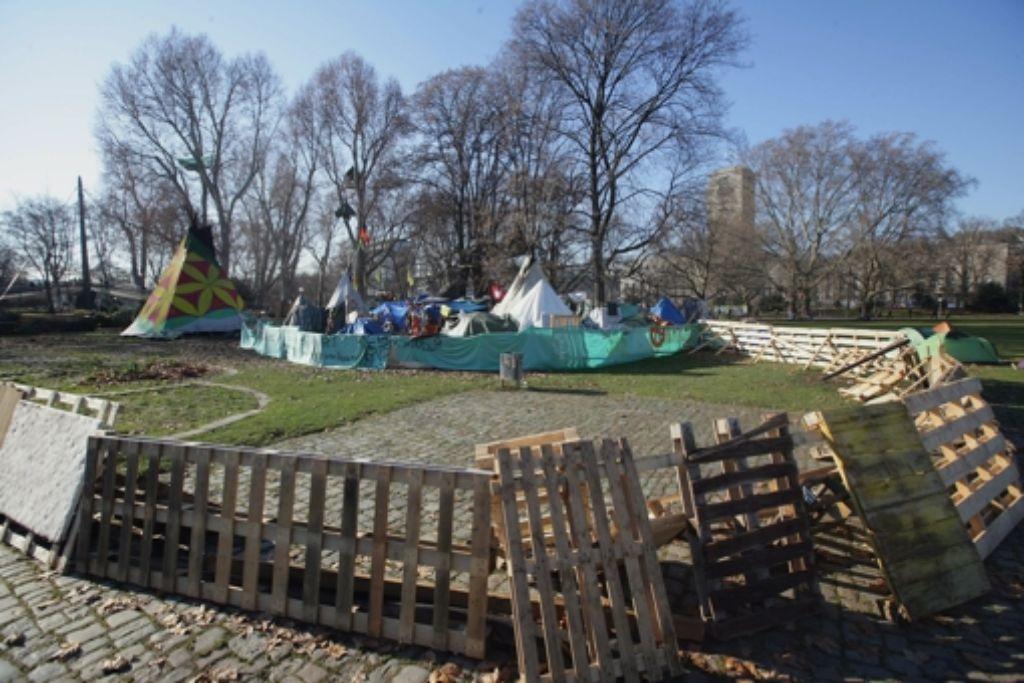 Noch stehen die Zelte im Schlossgarten. Foto: Achim Zweygarth