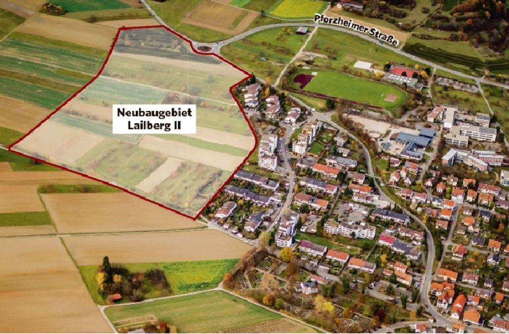 In schöner Südwest-Hanglage grenzt der Lailberg an Heimsheim. 2018 sollen die ersten Häuser entstehen. Foto: Leicht