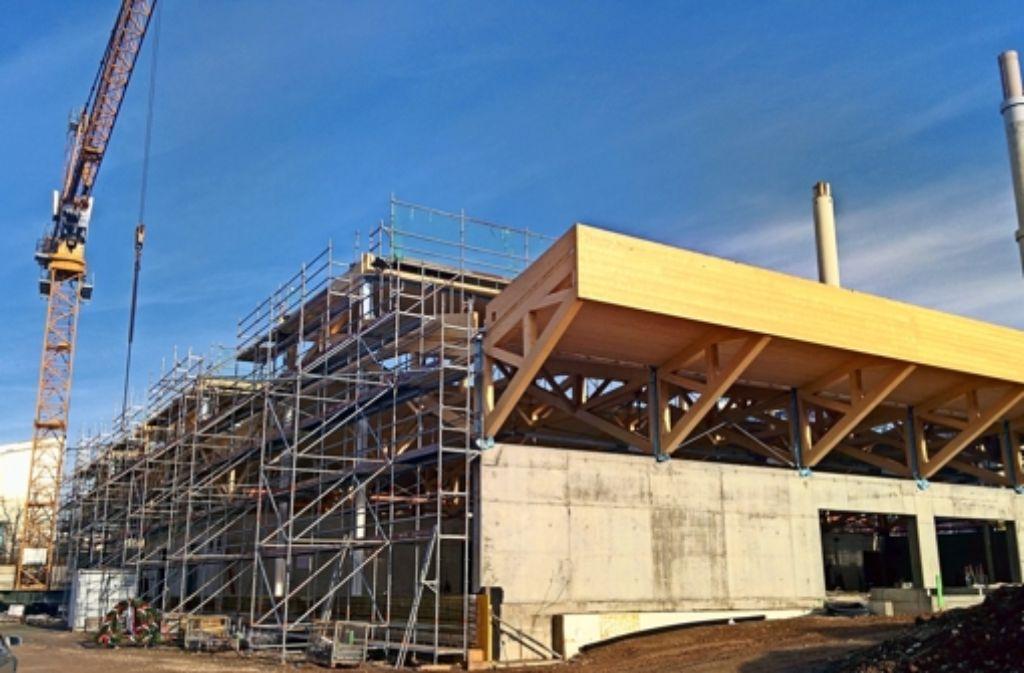 Kennzeichen des Neubaus wird die markante Holzdachkonstruktion sein. Foto: Jürgen Brand