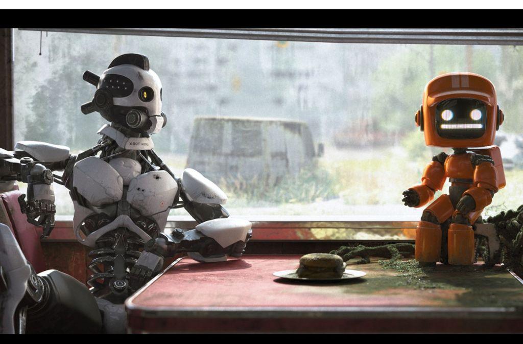 Diese vergnügten Roboter besichtigen die Ruinen der menschlichen Zivilisation. Foto: Netflix