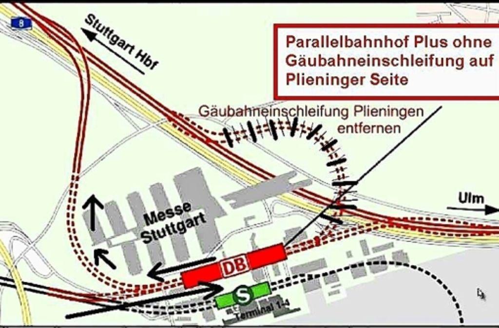 Aus Ulrich Bergers Sicht ist die Schleife auf Plieninger Boden unnötig. Foto: Karte: DB/Bearbeitung: Berger