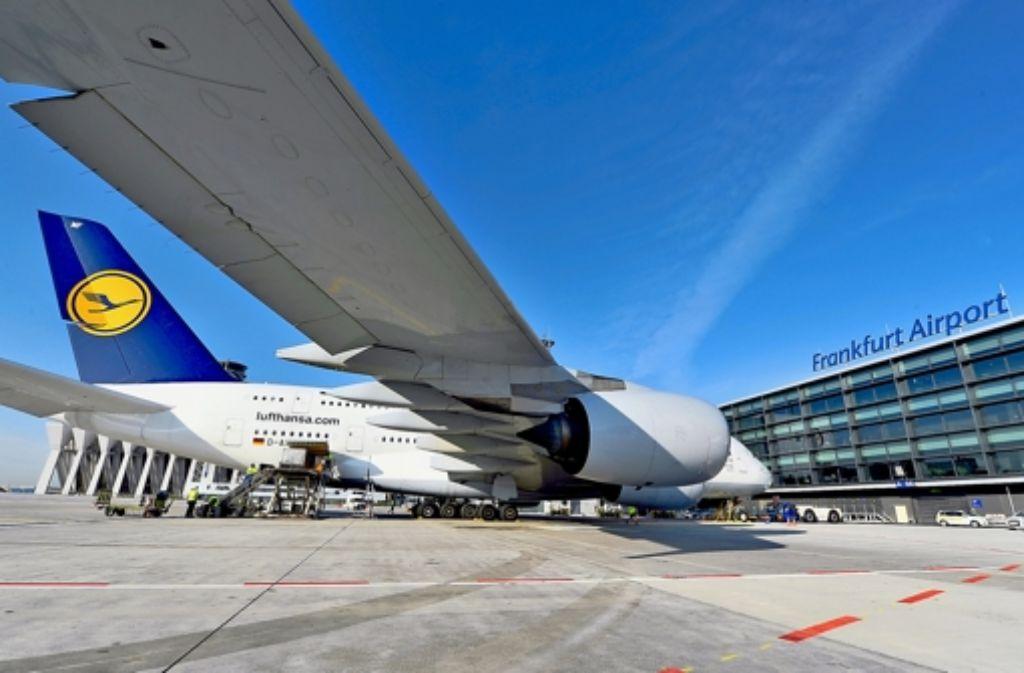 Der Airbus A 380 vor dem Start in Frankfurt Foto: Jürgen Mai