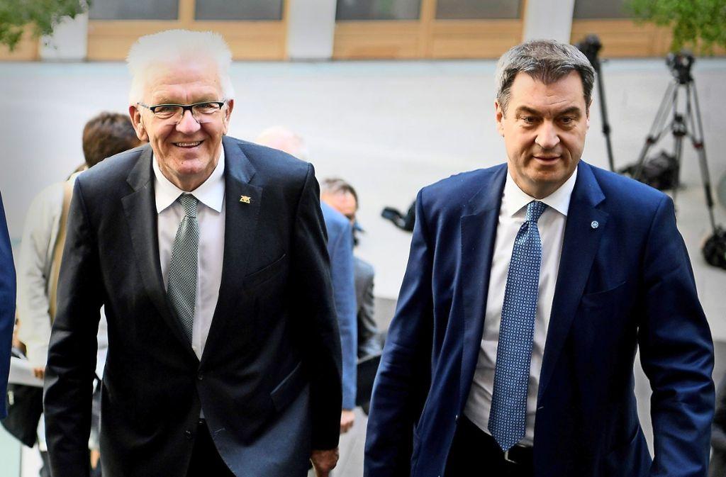 Die  Entscheidung des Europäischen Gerichtshofs betrifft auch die  Ministerpräsidenten Markus Söder (CSU, links) und  Winfried Kretschmann (Grüne). Foto: dpa
