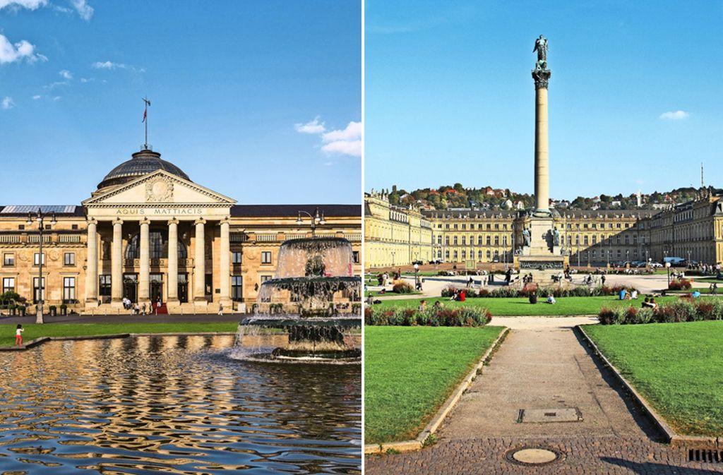 Postkartenidylle: das Kurhaus in Wiesbaden (links) und das Neue Schloss in Stuttgart. Doch abseits der Idylle haben beide Städte mit hoher Luftbelastung zu kämpfen. Foto: Mauritius