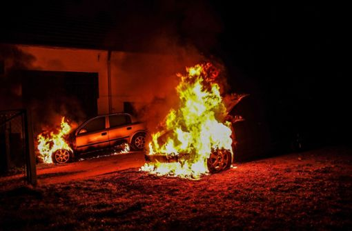 Zwei Autos bei Brand komplett zerstört
