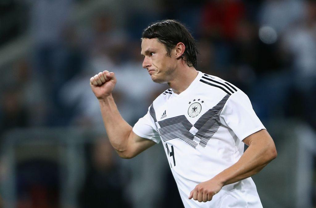 Nico Schulz gelang das 2:1 für Deutschland gegen Peru in Sinsheim. Foto: Bongarts