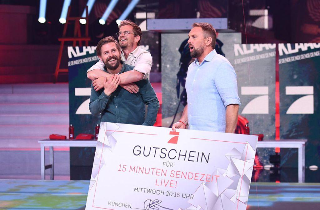 """Durch den Sieg in der Spielshow """"Joko & Klaas gegen ProSieben"""" bekamen die Entertainer am Mittwoch 15 Sendeminuten. Foto: dpa"""