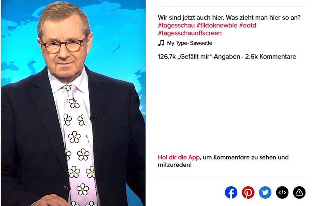 Das Erste verpasst Jan Hofer auf Tiktok virtuelle Scherzkrawatten. Foto: ARD