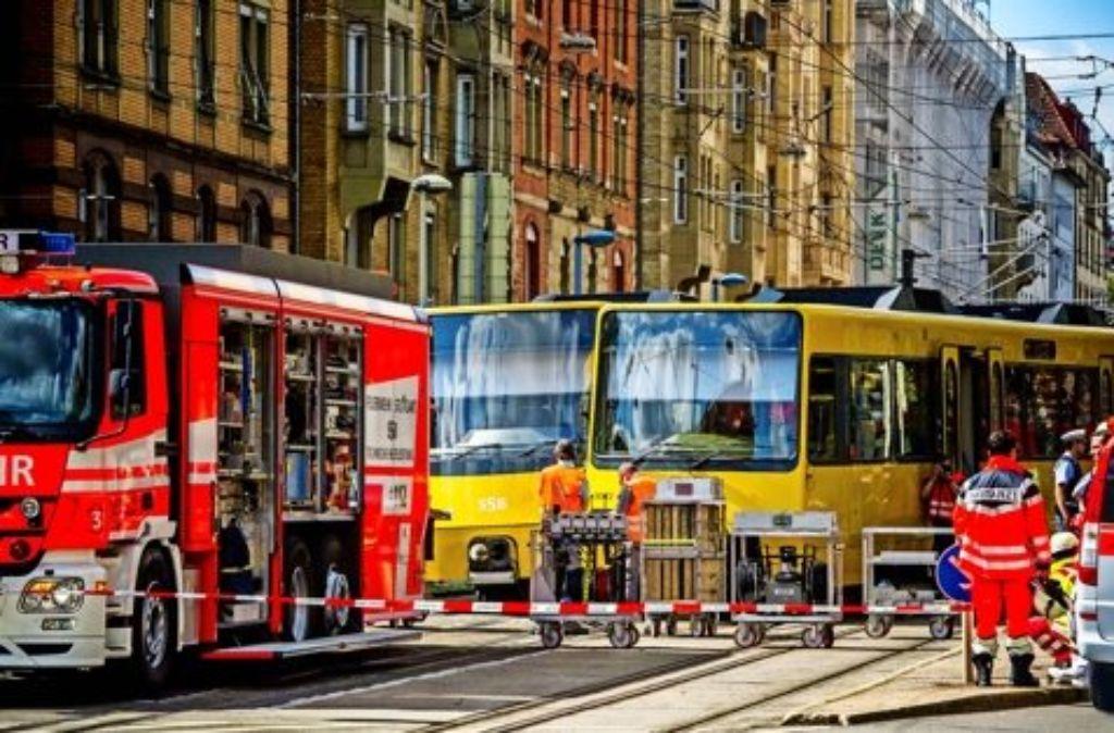 Stillstand am Stöckach: Nach einem Stadtbahnunfall musste die Strecke für vier Stunden gesperrt werden. Foto: Lichtgut/Max Kovalenko