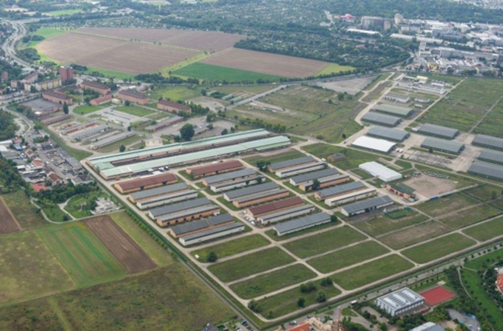 Das Konversionsgelände der Spinelli-Barracks und die Feudenheimer Au – auf diesem Gelände soll die Bundesgartenschau 2023 geplant werden. Foto: dpa