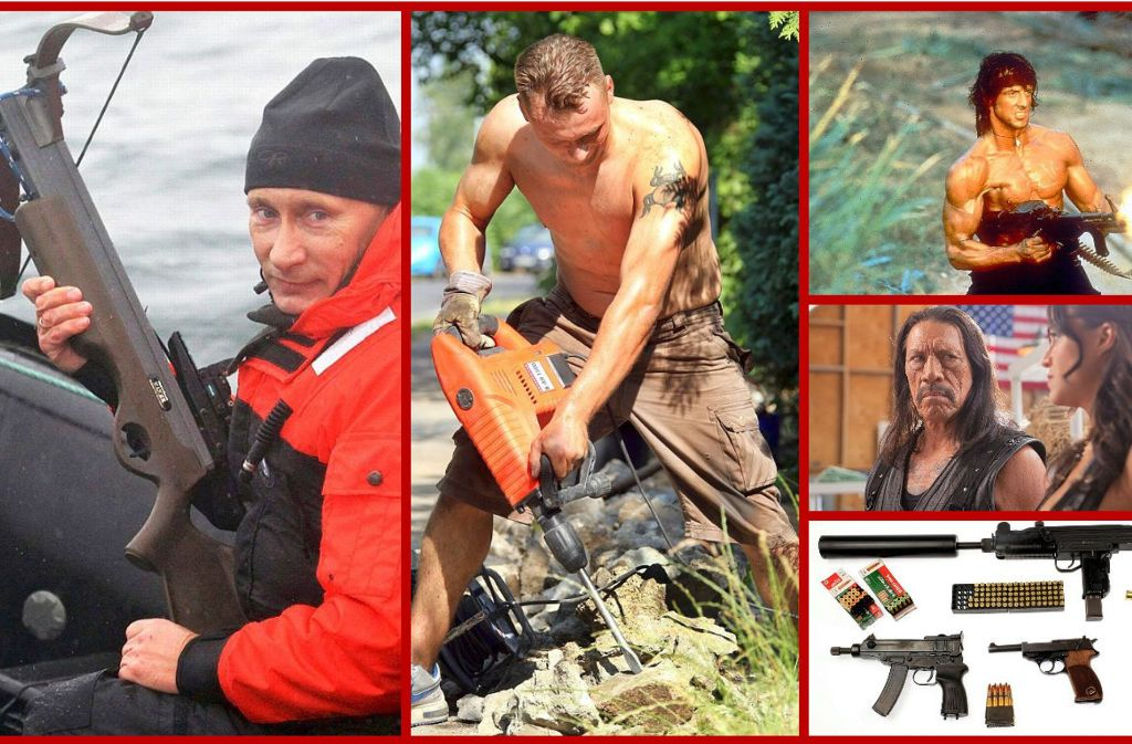 Armbrust, Bohrhammer, Muckis, Schnauzer, Ballermänner: Alles Dinge, die Sie bei einer Zombie-Apokalypse brauchen. Foto: dpa/Montage: StZN