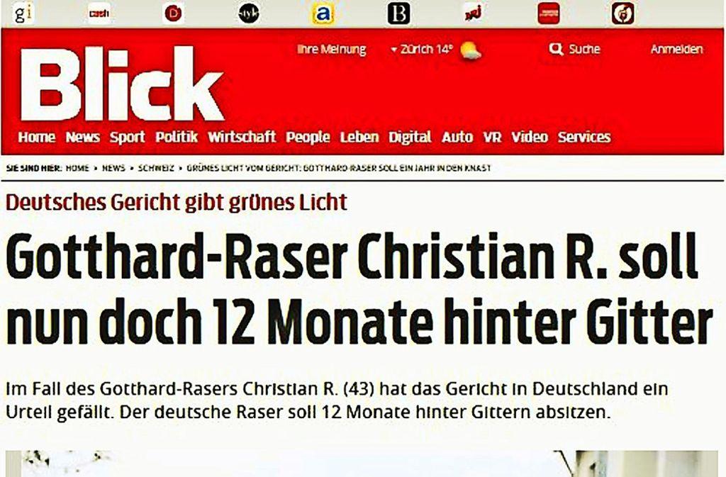 """Die Boulevardmedien in der Schweiz  – hier eine Schlagzeile aus dem """"Blick""""  – reagieren mit Genugtuung auf den Beschluss. Foto:"""