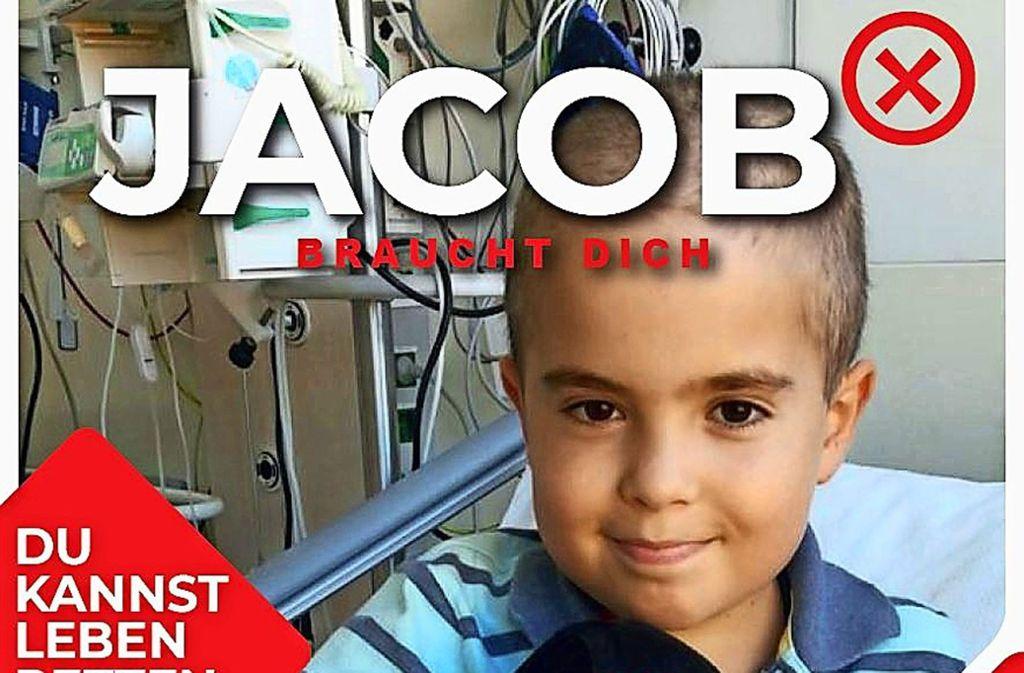 Mit diesem Flyer, auf dem der leukämiekranke Jacob zu sehen ist, ruft die Metzgerei Kübler zu ihrer Typisierungsaktion auf. Foto: Flyer