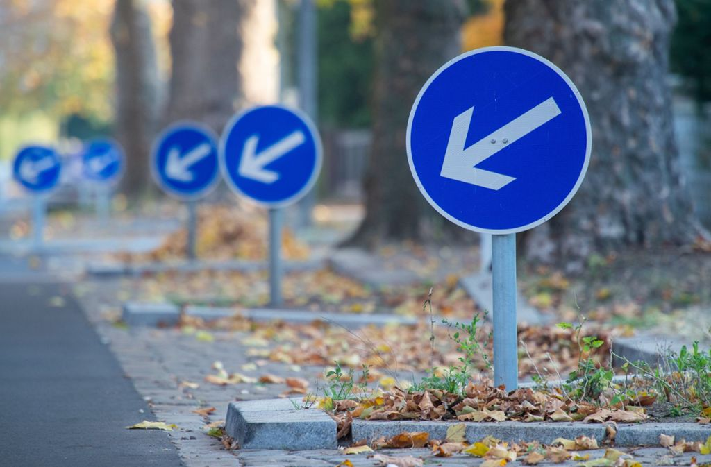 Viele Verkehrszeichen sind entlang der Berliner Platanenstraße im Bezirk Pankow aufgestellt. Auf einer Strecke von 700 Metern stehen insgesamt 44 Schilder. Foto: dpa