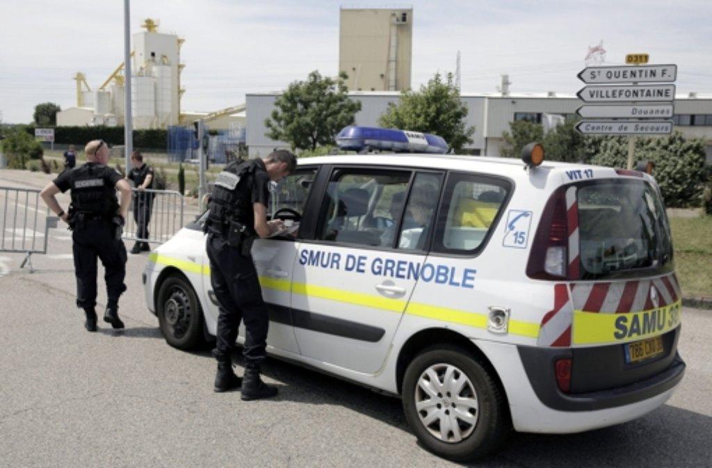 Bei einem Anschlag in einem Gaswerk in Saint-Quentin Fallavier bei Lyon sind ein Mensch getötet und mehrere Personen verletzt worden. Foto: EPA
