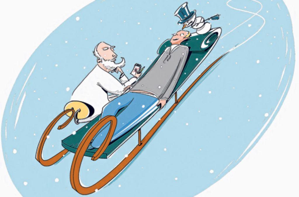 Bei einer Schnee- und Winterphobie hilft nur noch Doktor Freud. Illustration: Luz