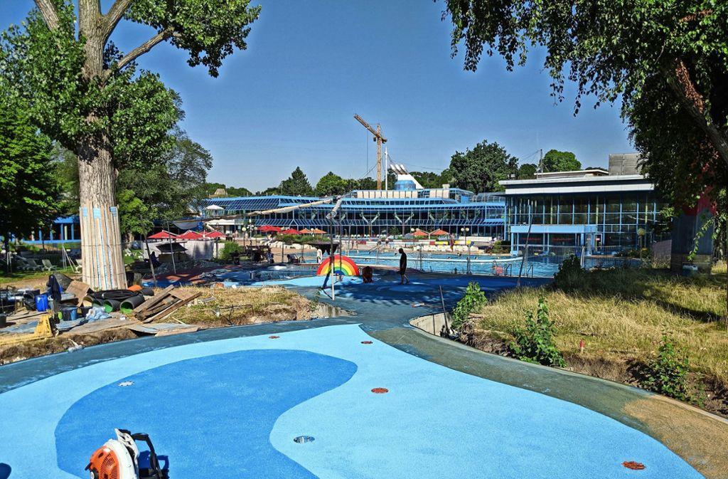 Der neue Wasserspielbereich im Leuze wird in Kürze eröffnet. Foto: Jürgen Brand